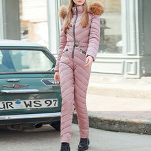 Load image into Gallery viewer, Winter Thick Long Jumpsuit Women Overalls Oversize Padded Clothes Fashion Pure Pink Parka Black Streetwear Casual Jumpsuits 2019