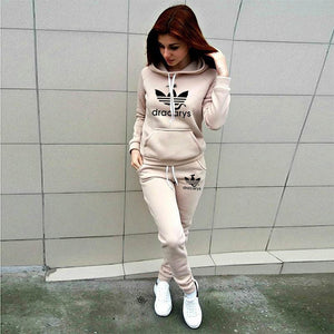 2019 Autumn Winter 2 Piece Set Women Hoodie Pants Printed Tracksuit Pullover Sweatshirt Trousers With Pockets Tracksuit Suits