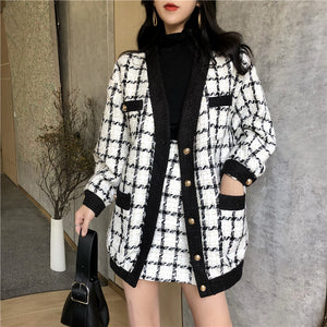 2019 Autumn Winter Fashion 2 Piece Set Women Long Sleeve Tweed Wool Jacket Coat+Mini Wool Skirt Set Ladies Vintage Clothing Sets