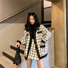 Load image into Gallery viewer, 2019 Autumn Winter Fashion 2 Piece Set Women Long Sleeve Tweed Wool Jacket Coat+Mini Wool Skirt Set Ladies Vintage Clothing Sets