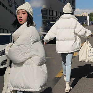 RICORIT Winter Jacket Women Solid Color Stand Collar Down Coat Loose Parkas Korean Female Oversized Jackets пуховик оверсайз