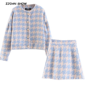 2019 Sweet Women Pearl Button Check Gingham Plaid Blazer High Waist A line Mini Short Skirts Long Sleeve Suits 2 Pieces Set