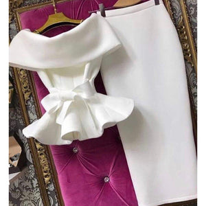 New Women Short Sleeve Ruffle Hem Shirts Bow 2 Piece Set Solid Lace Up Off Shoulder Tops and Bodycon Skirt Sexy Club Party Suits