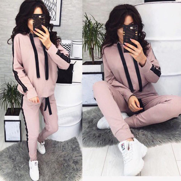 2019 New Casual Tracksuit for Women Two Piece Set Hoodies Tight Sportswear 2 Pieces Running Sports Suit for Women Suits