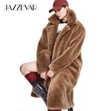 Load image into Gallery viewer, JAZZEVAR 2019 Winter New Fashion Womens Teddy Bear Icon Coat X-Long Real Sheep Fur Oversized Parka Thick Warm Outerwear J8003