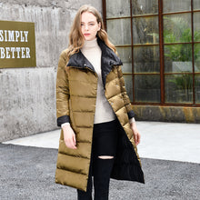 Load image into Gallery viewer, 2019 Women Winter Coat Stand Collar White Duck Down Inner Women Light Long Jacket Coat Women Coat Casaco Feminino Parkas