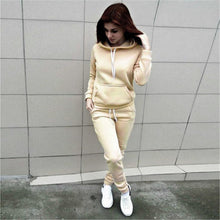 Load image into Gallery viewer, 2019 Autumn Tracksuit Long Sleeve Thicken Hooded Sweatshirts Long Pants Winter 2 Piece Set Casual Sport Suit Women Tracksuit Set