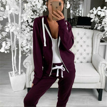 Load image into Gallery viewer, Hot Sell Well 2Pcs Women Tracksuits Long Sleeves Zipper Up Hooded Hoodies Sweatshirt Top Jogging Pants Outfit Set Casual New