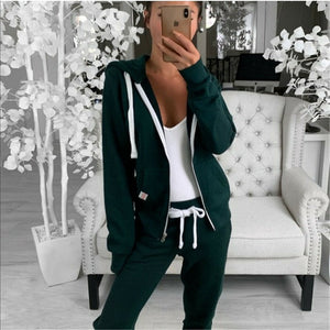 Hot Sell Well 2Pcs Women Tracksuits Long Sleeves Zipper Up Hooded Hoodies Sweatshirt Top Jogging Pants Outfit Set Casual New