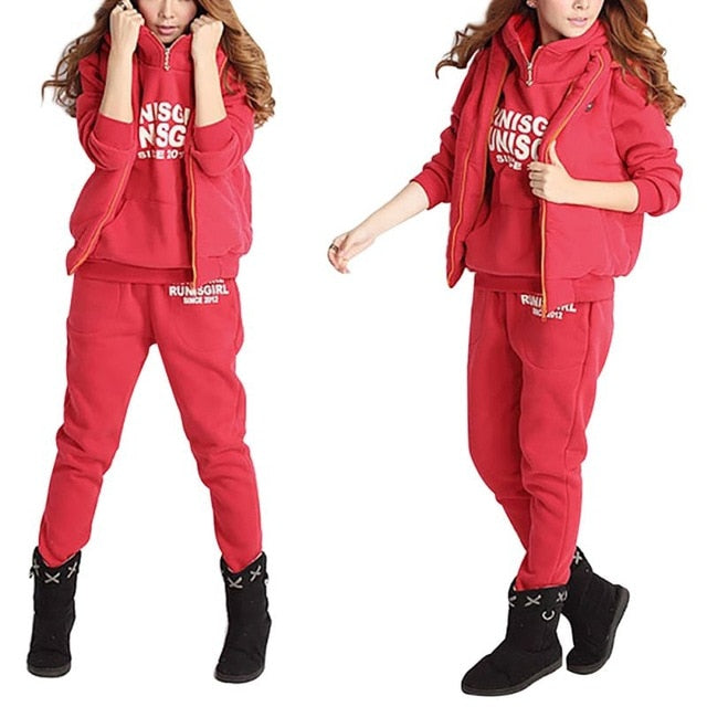 3PCS Running Sets Womens Hoodies Warm Women letter Tracksuit Set Thicken Sweat Tops Pants Suit Female Plus Velvet Thick Clothing