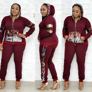 2 Two Piece Set Women track suit tops and pants hooded suit fashion big sequins jogging femme sets two piece outfits sweat suits