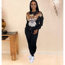 Load image into Gallery viewer, 2 Two Piece Set Women track suit tops and pants hooded suit fashion big sequins jogging femme sets two piece outfits sweat suits