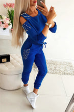 Load image into Gallery viewer, Women Casual 2 Piece Outfits Patchwork Hollow Out Design Beading Decor O-Neck Long Sleeve Solid Top+Drawstring Slim Pencil Pants