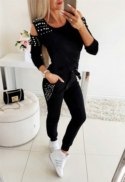 Women Casual 2 Piece Outfits Patchwork Hollow Out Design Beading Decor O-Neck Long Sleeve Solid Top+Drawstring Slim Pencil Pants