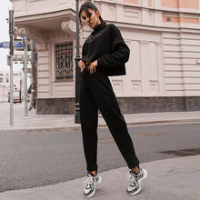 Load image into Gallery viewer, Women Black Loose Tracksuit Crop Top Harem Pants Matching Suit Fashion Autumn Casual Female Long Sleeve Sweatshirt 2 Piece Set