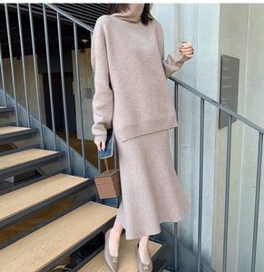 Elegant Ladies Solid Cashmere Sweater Skirt 2 Piece Set Women Fashion turtleneck  Long Sleeve Knitted Pullovers Skirt Suit