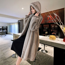 Load image into Gallery viewer, Winter new mink coat women's large size M-5XL over the knee waterproof velvet fur coats female medium long thick padgyk fur
