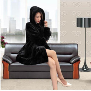 Winter new mink coat women's large size M-5XL over the knee waterproof velvet fur coats female medium long thick padgyk fur