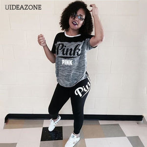 Casual PINK Printing Women 2pcs Outfit Short Sleeve T-Shirts And Long Skinny Pants Suits Fitness Plus Size XXXL Summer Tracksuit