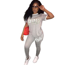 Load image into Gallery viewer, Casual PINK Printing Women 2pcs Outfit Short Sleeve T-Shirts And Long Skinny Pants Suits Fitness Plus Size XXXL Summer Tracksuit