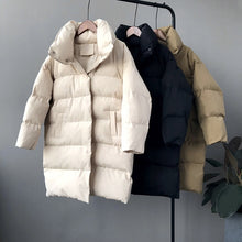 Load image into Gallery viewer, RICORIT 2019 New Winter Hooded Long Sleeve Solid Color Cotton-padded Warm Loose Long Puffer Jacket Women parkas Coat