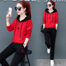 Load image into Gallery viewer, New Fashion Plus Velvet Long Sleeved Women's Sports Two Piece Plus Size Two Piece Set Loose Pink Red Black Spring and Autumn