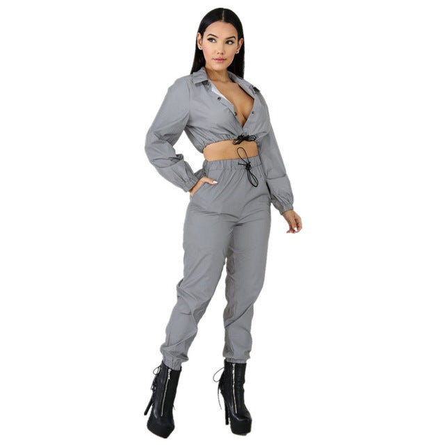 Women Sexy Reflective Tracksuit Night Version Buttons Crop Top + Casual Pants Two Piece Set Turn Down Collar Long Sleeve 2019