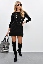 Load image into Gallery viewer, Women's Pocket Black Tricot Short Dress