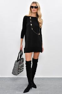 Women's Pocket Black Tricot Short Dress