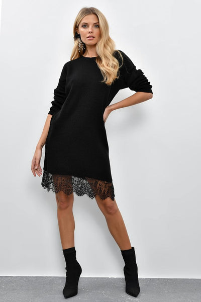 Women's Lace Hem Black Tricot Short Dress