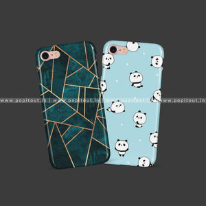 Geometric Marble & Blue Panda Cases - PopItOut