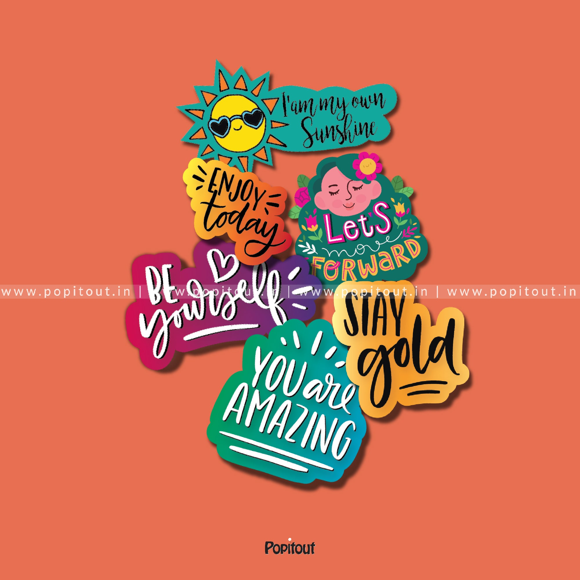 Motivational Quotes Sticker Collection (6 Assorted Stickers)