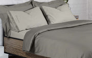 stone grey and white embroidered luxury duvet set by strawberry and cream