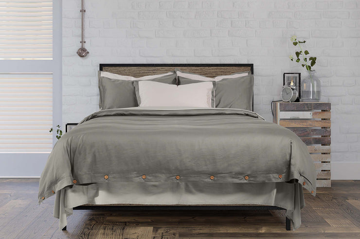 stone grey organic cotton bedding with fitted sheet and flat sheet