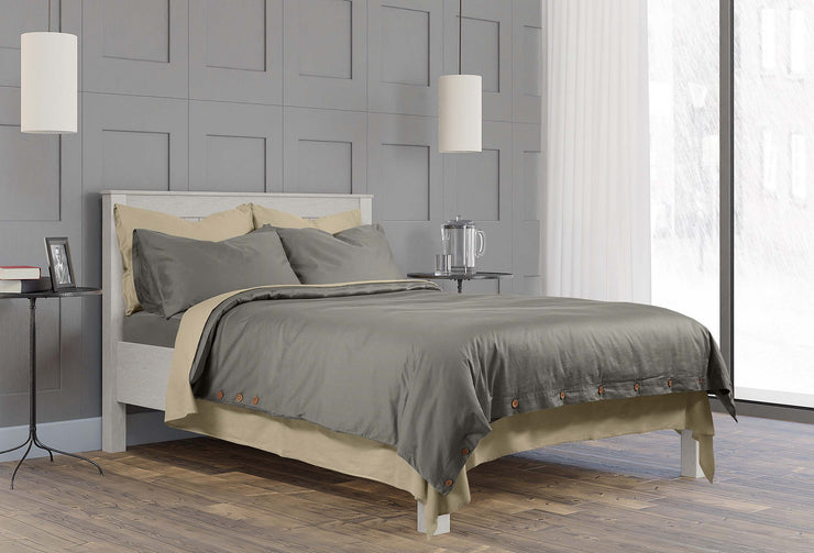 minimalist bedroom design inspiration with high quality stone grey and dune bedding
