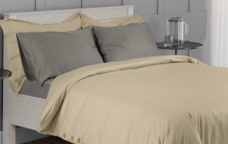 luxurious organic cotton duvet set with stone grey fitted sheet