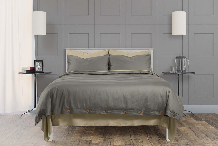 stone grey and dune organic cotton bedding with fitted sheet and flat sheet