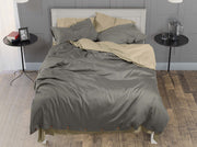 Dark Grey Duvet Cover: 100% Organic Cotton & Side Access