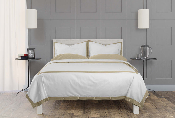 luxurious hotel style bedding set in dune and white