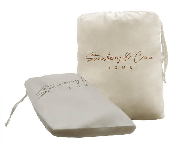 Luxury Signature 100% Organic Cotton Fitted Sheet With Time Saving Features - Natural & Brown