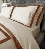 Brown & Cream Cotton Duvet Cover: 100% Organic Cotton
