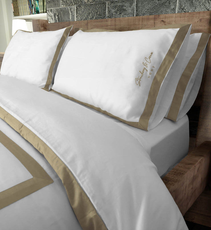 Luxury Signature 100% Organic Cotton Duvet Cover With Time Saving Features - White & Dune