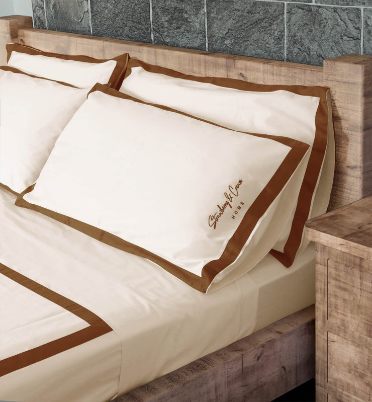 Luxury Signature 100% Organic Cotton Flat Sheet With Time Saving Features - Natural & Brown