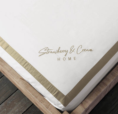 Luxury Signature 100% Organic Cotton Flat Sheet With Time Saving Features - White & Dune