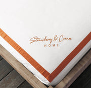 Luxury Signature 100% Organic Cotton Flat Sheet With Time Saving Features - White & Orange