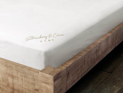 Luxury Signature 100% Organic Cotton Fitted Sheet With Time Saving Features - White & Dune