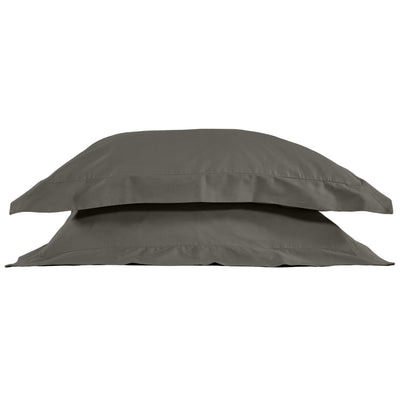 Classic Oxford Style Plain Pillow Case - Stone Grey