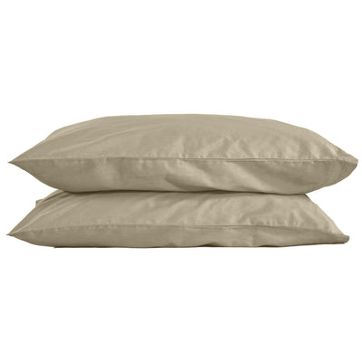 Beige Pillowcase (Set of 2): 100% Organic Cotton