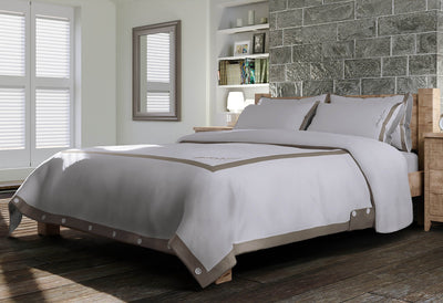 Signature Duvet Cover - White & Dune