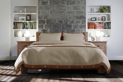 Luxury Signature 100% Organic Cotton Duvet Cover With Time Saving Features - Natural & Brown